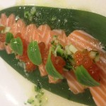 New Zealand king salmon with cucumber, caviar, ponzu