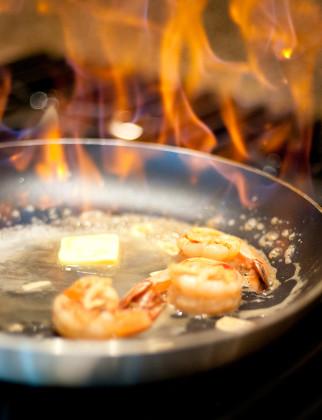 Garlic prawns with Wyoming Whiskey